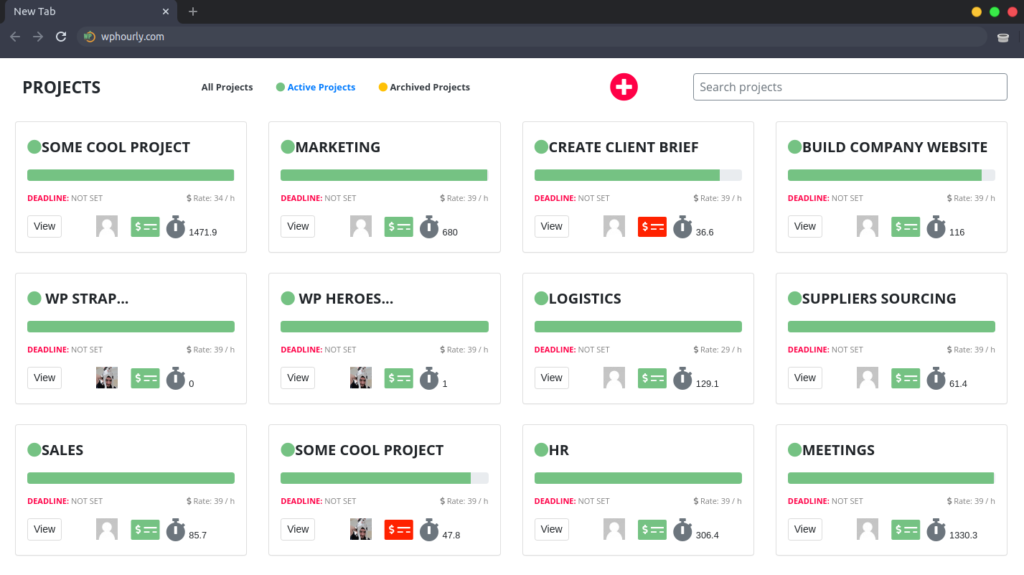 WP Hourly - Projects Dashboard